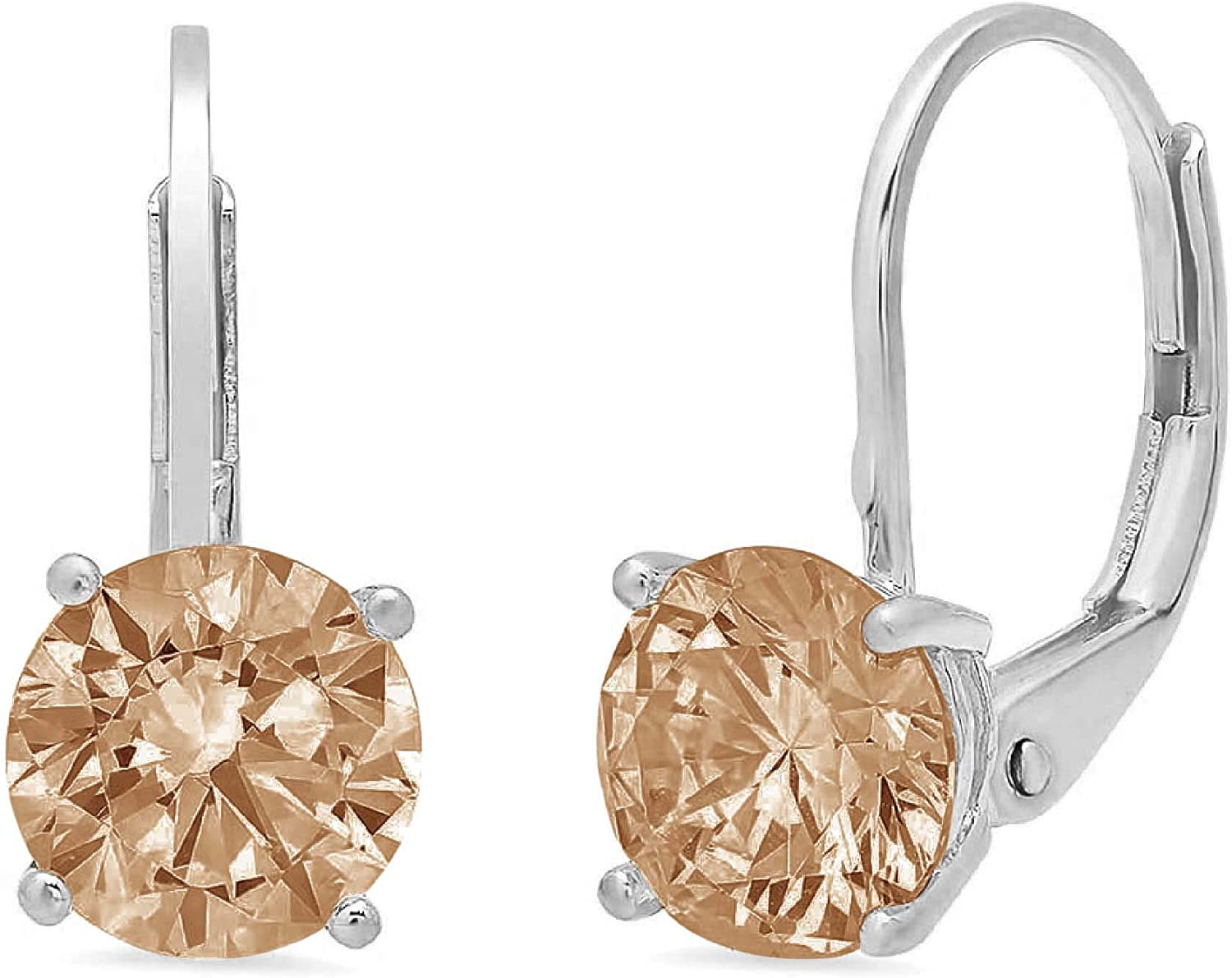1.9ct Round Cut Solitaire Brown Champagne CZ Unisex Designer Lever back Drop Dangle Earrings Solid 14k White Gold conflict free Jewelry