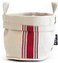 maika Recycled Canvas Storage Bucket 3-Pack, Size Medium, Stripe Red