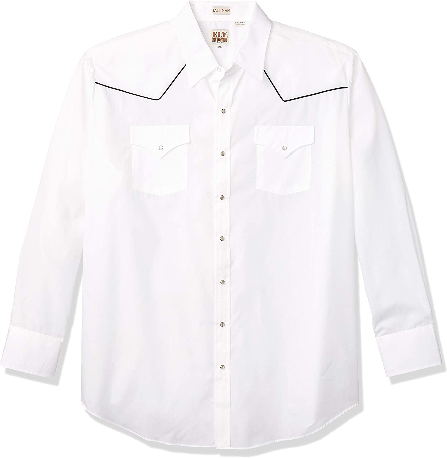 ELY CATTLEMAN Men's Long Sleeve Western Shirt with Contrast Piping