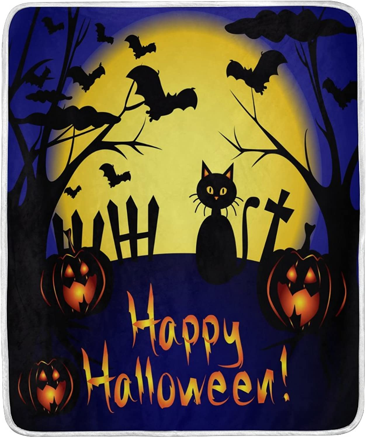 ALAZA Home Decor Happy Halloween Night Cat Moon Pumpkin Soft Warm Blanket for Bed Couch Sofa Lightweight Travelling Camping 60 x 50 inch Throw Size for Kids Boys Girls