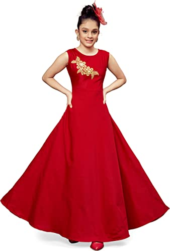 Girl s Fit and flare Maxi Dress Red 13 14 Years G flower RED 13 14 years