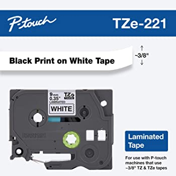 "Brother Genuine P-touch TZE-221 Tape, 3/8"" (0.35"") Standard Laminated P-touch Tape, Black on White, Laminated for Indoor or Outdoor Use, Water Resistant, 26.2 Feet (8M), Single-Pack"