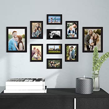 Art Street Synthetic Wood Wall Photo Frame (4 units: 5x7 inch , 4 units: 6x8 inch , 2 units: 8x10 inch, Black)
