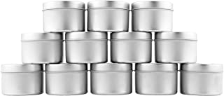 4-Oz Small Candle Tins (12-Pack); Metal Storage Containers w/Slip-On Lids for Candle Making, Party Favors, Spices, Gifts, Balms & Gels
