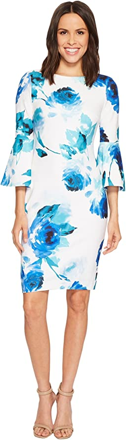Calvin Klein - Floral Print Bell Sleeve Sheath Dress CD8CC33E