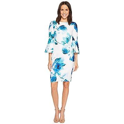 Calvin Klein Floral Print Bell Sleeve Sheath Dress CD8CC33E (Lagoon Multi) Women
