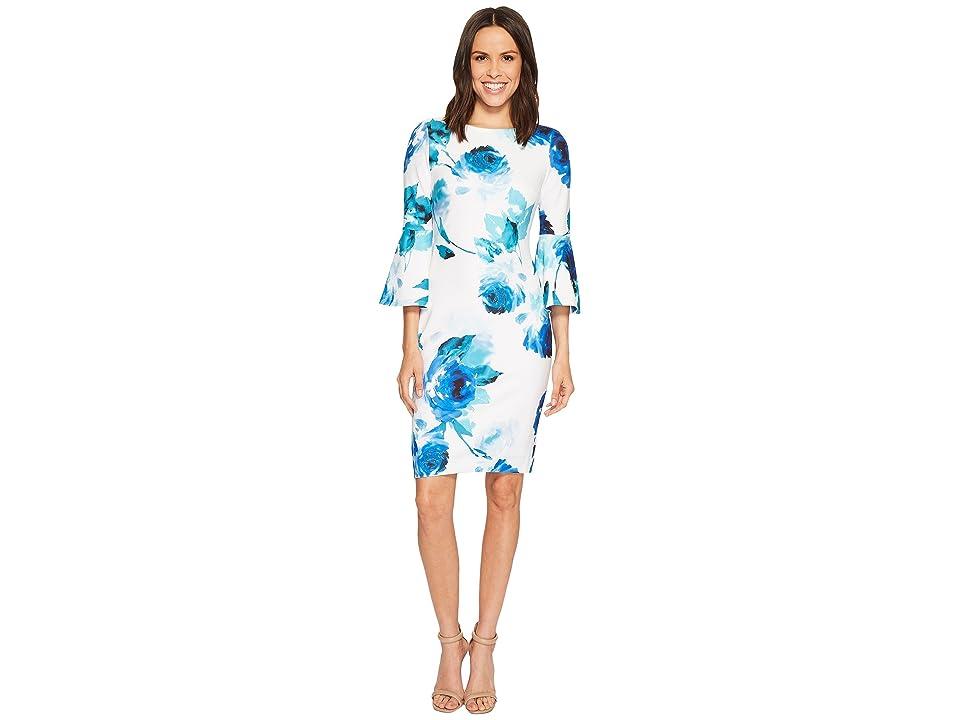 68fca1b3c9ccf Calvin Klein Floral Print Bell Sleeve Sheath Dress CD8CC33E (Lagoon Multi)  Women