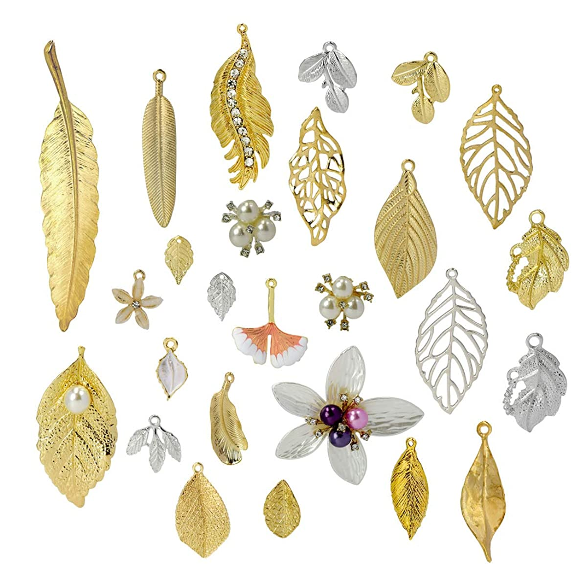 ZIIYAN 52Pcs Different Style Gold/Siliver Plated Metal Leaf Shape Charms Pendant Crafting Jewelry Findings Making Accessory for DIY Necklace Bracelet