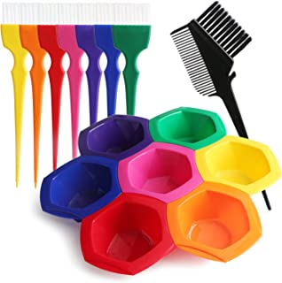 Hair Color Bowl and Brush Set, Hair Coloring Highlighting Tools on Hair Dye, Rainbow Hair Color Mixing Bowls Brushes Comb ...