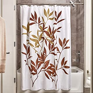 iDesign Fabric Leaves Shower Curtain for Master, Guest, Kids', College Dorm Bathroom, 72