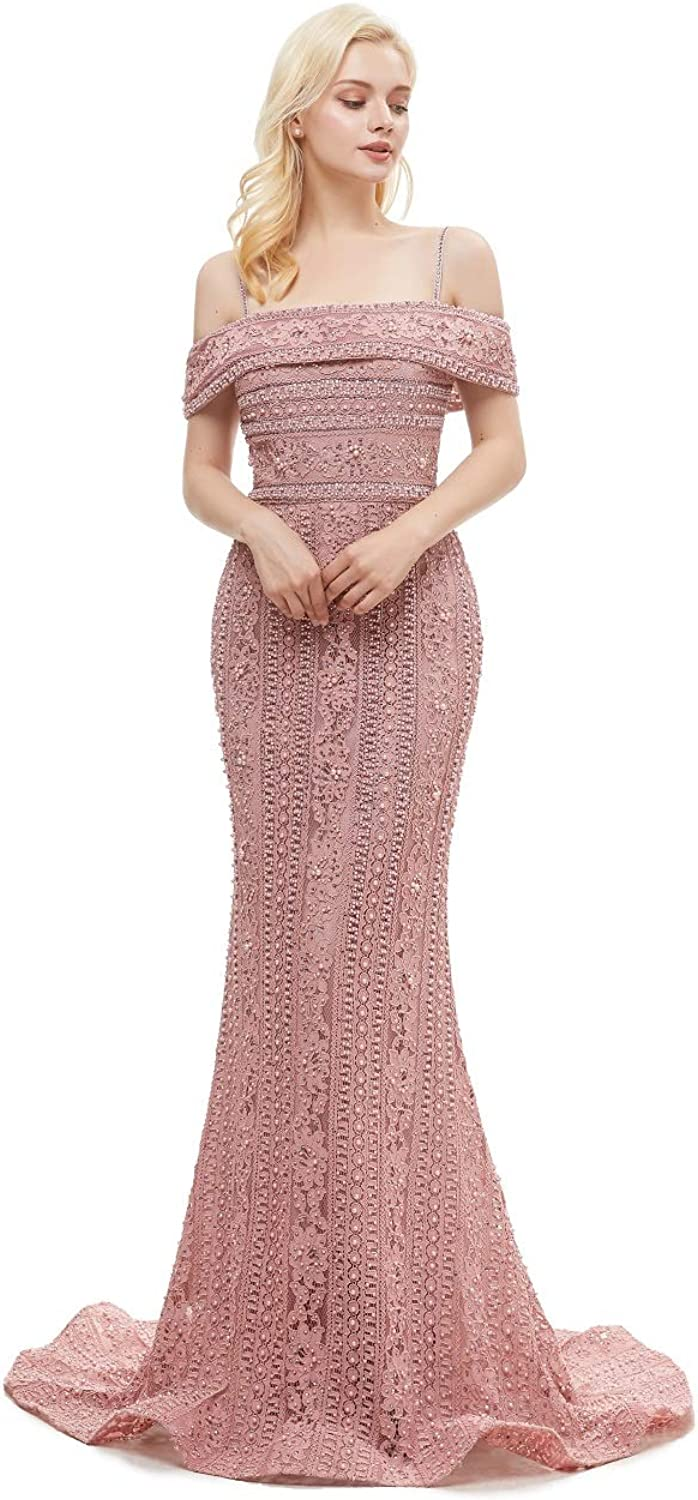 Leyidress Off Shoulder Mermaid Evening Dresses Lace Pearl Sexy Trumpet Prom Dresses for Women Party