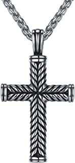 Men's Stainless Steel Religious Large Cross Pendant Necklace, 24