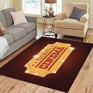 Pinbeam Area Rug Admit Ticket Cinema Pass Access Admission Coupon Entertainment Home Decor Floor Rug 5' x 7' Carpet