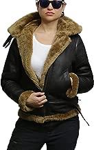 Brandslock Women's Genuine Sheepskin Leather Flying Aviator Winter Jacket with Hood