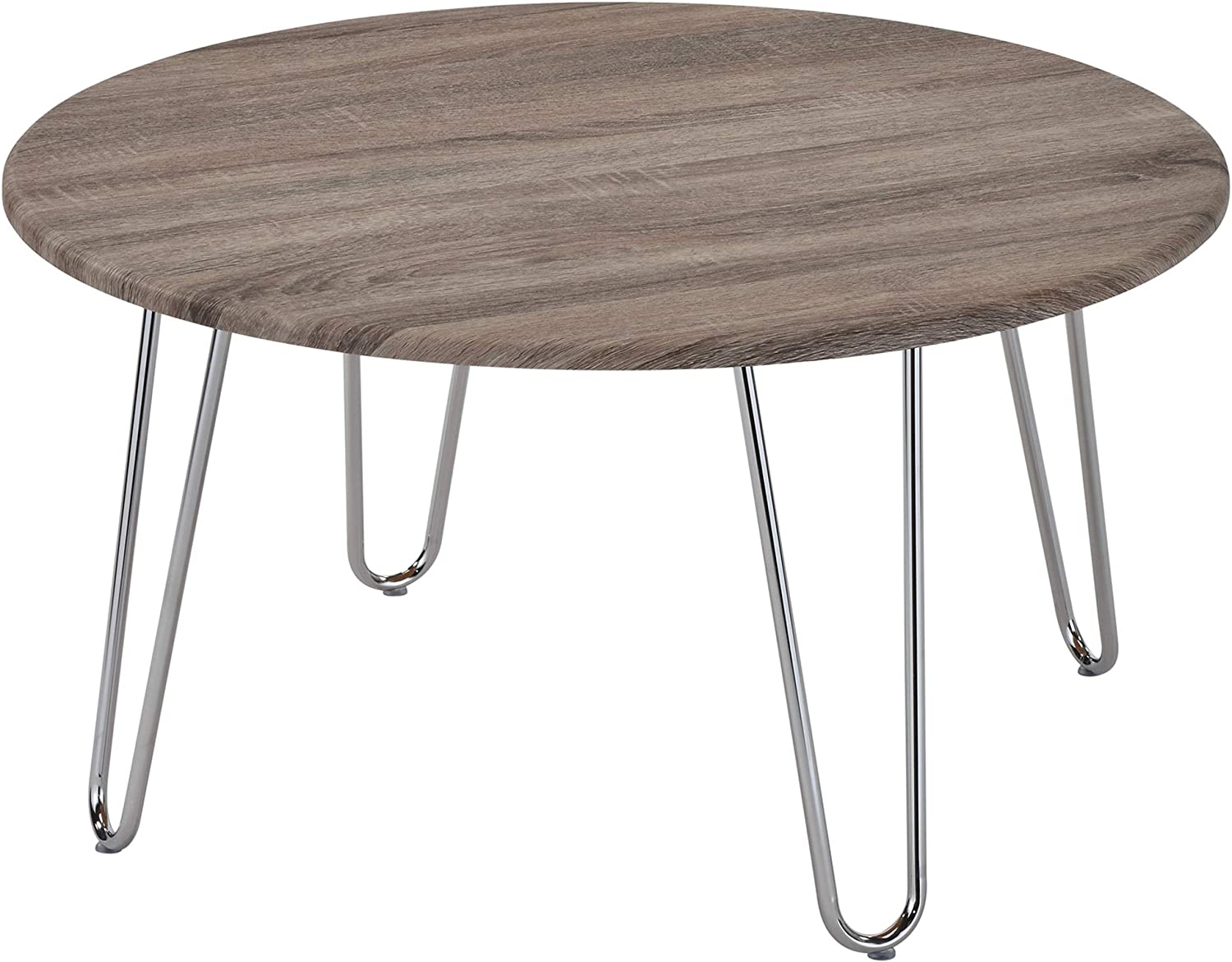 Tario, Modern Metal Chrome Leg Coffee Cocktail Table (31'' Round)