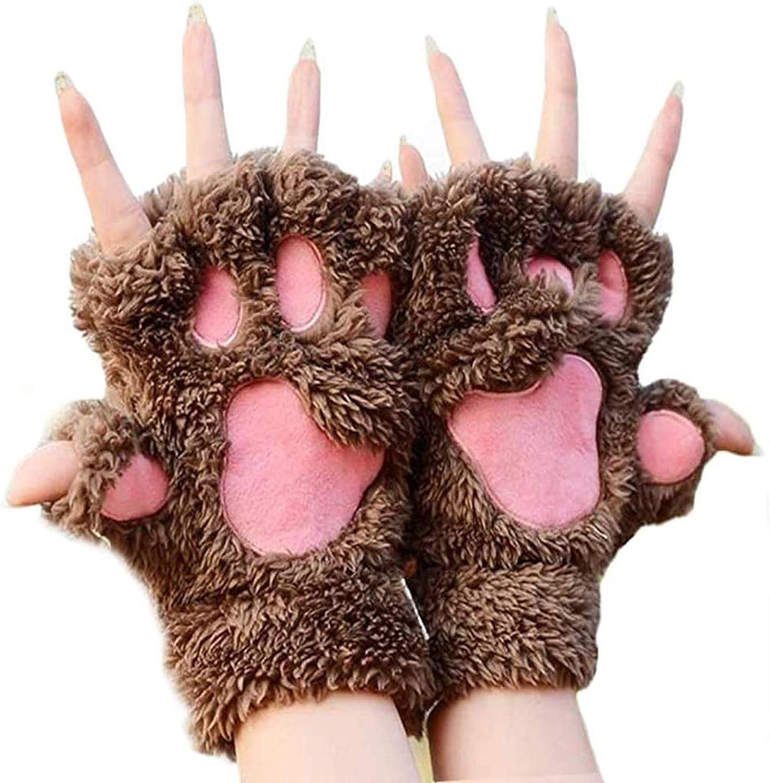 Michellecmm Women Cute Cat Paw Fingerless Gloves Winter Warm Plush Soft Mittens for Valentine's Day Birthday Gift