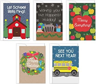 Teacher Holiday Cards- 5-Pack Teacher Christmas Cards, 4 Designs, School Christmas Greeting Card Bulk Box Set, Envelopes Included, 4.25 x 6 Inches (Holiday Cards)