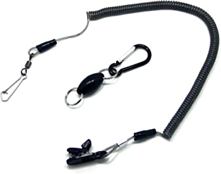 SAMSFX Magnetic Net Release Holder Fly Fishing Net Keeper Magnet Clip Aluminum Shell Magnet with Lanyard (Black Olive Magnet with Lanyard)