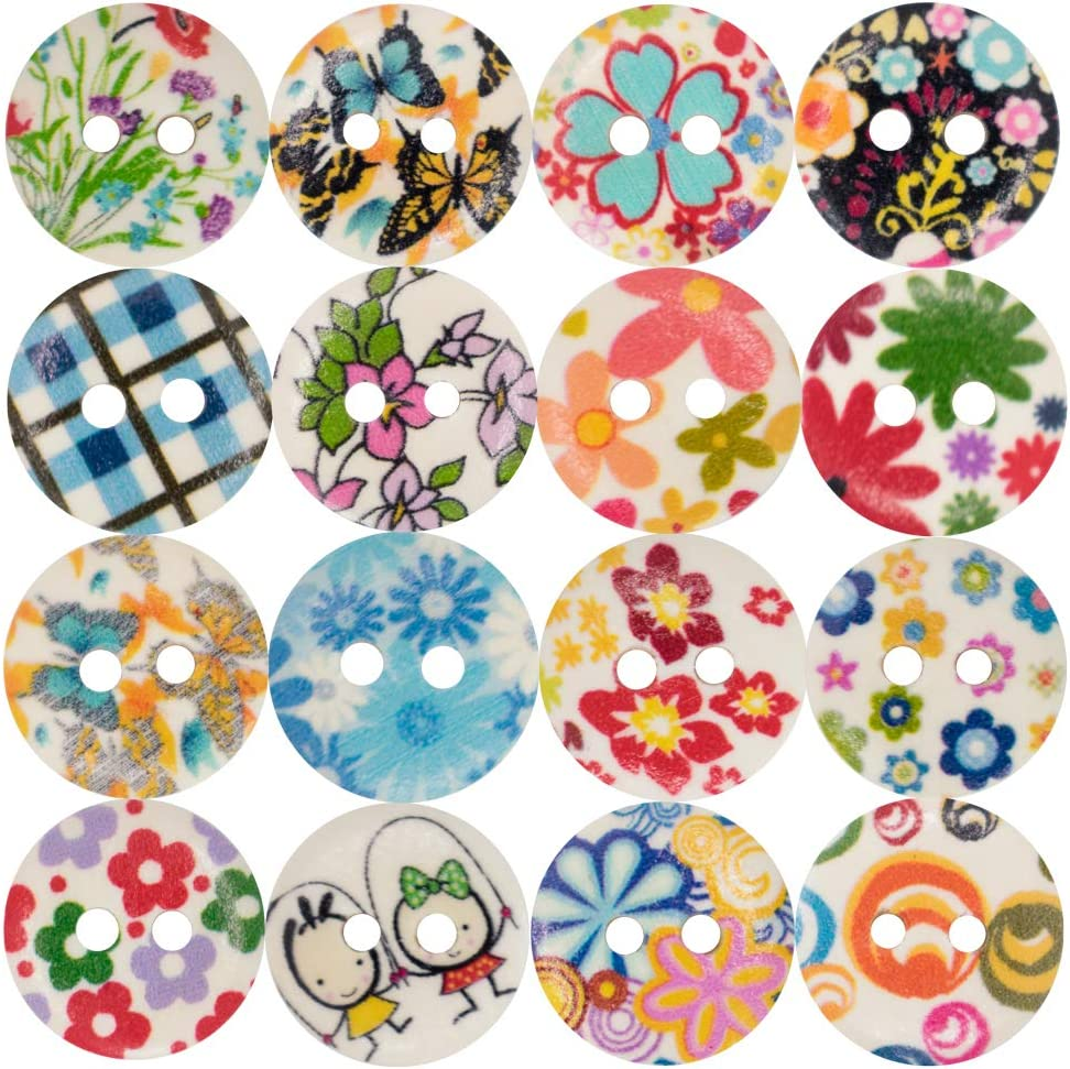 DFYOUHome Wooden Sewing Buttons with Popular product Colorful Max 85% OFF Si Pattern Flower