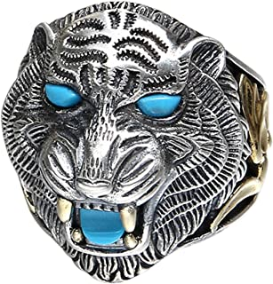 Two Tone 925 Sterling Silver Tiger Head Ring Jewelry with Stones for Men Boys Adjustable Size 8.5-11.5