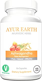 Pure Ashwagandha Root Extract Powder - Ashwagandha Vegetarian Capsules - Ashwagandha Supplement for Stress Relief & Anxiety Relief - Mood Enhancer Helps to Fight Fatigue - 30 Day Supply (60 Pills)