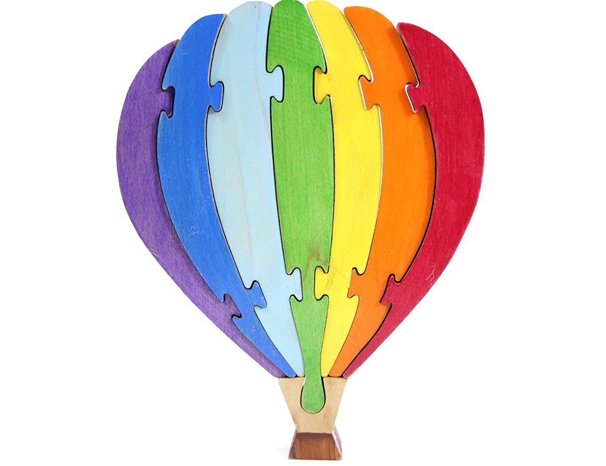 Hot Air Balloon Puzzle and Children's Room Decor Painted in Rainbow Colors