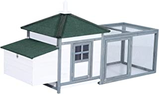 "PawHut 77"" Wooden Weatherproof Backyard Chicken Coop Kit with 2-Part Nesting Box and Run - White/Grey"
