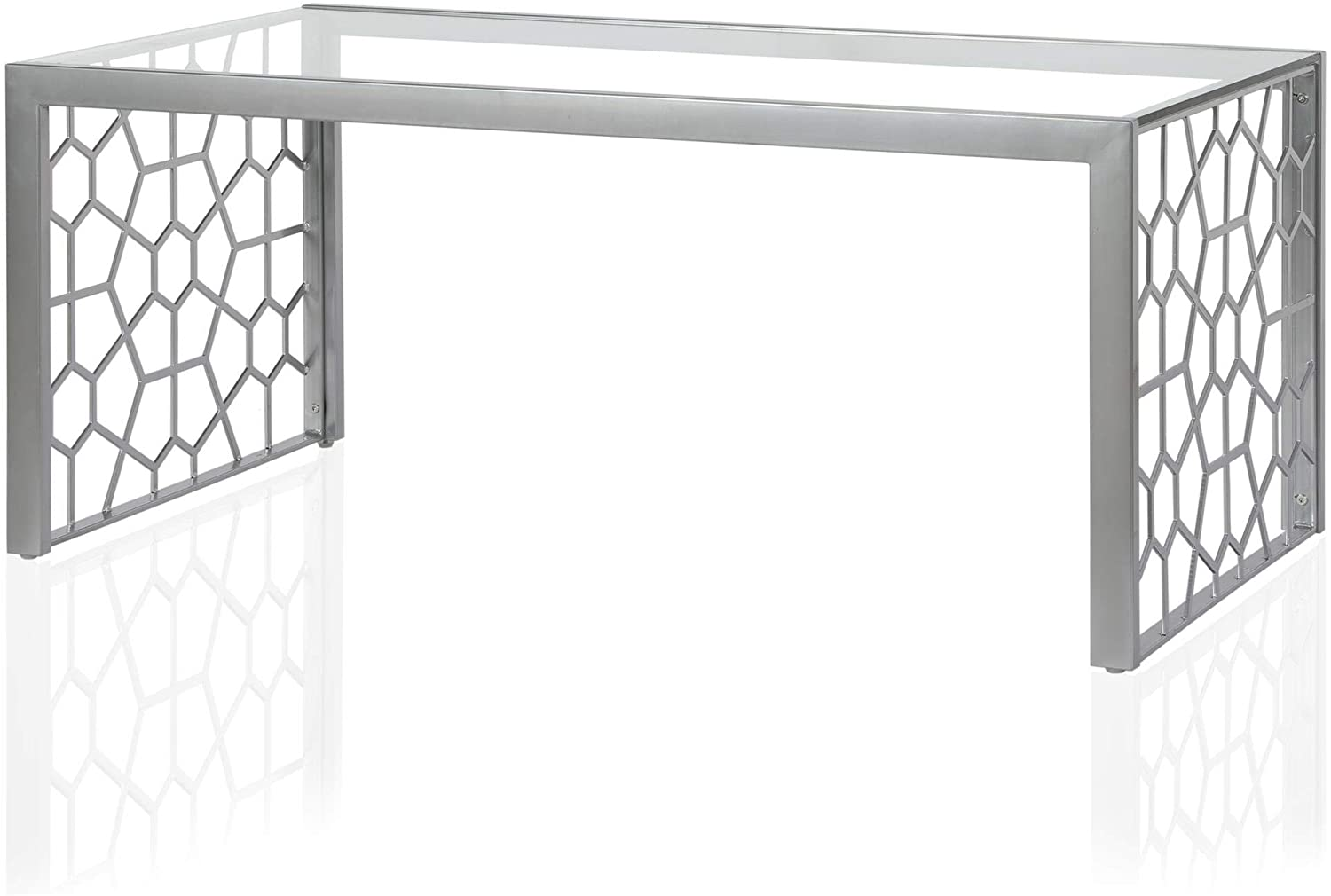 CosmoLiving by Cosmopolitan CosmoLiving Juliette Top, Silver, Tempered Glass Coffee Table