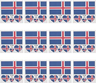 Museya 12pcs Iceland Flag Temporary Tattoos Stickers 2018 FIFA World Cup Waterproof Body Face Tattoos