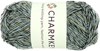 Wool Origin Baby Yarn - Charmkey Super Soft 4 Worsted Natural Wool Cotton Nylon Blend 4ply Tweed Thick Knitting Yarn for Garment Scarf Hat and Craft Project, 1 Skein, 3.53 Ounce (Pale Grey)