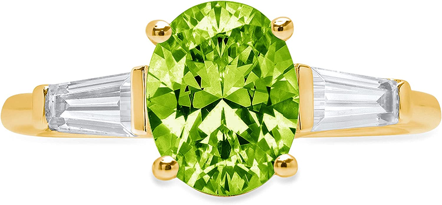 Clara Pucci Super sale period limited 2.6 ct Oval Industry No. 1 Baguette St 3 Solitaire Accent stone cut