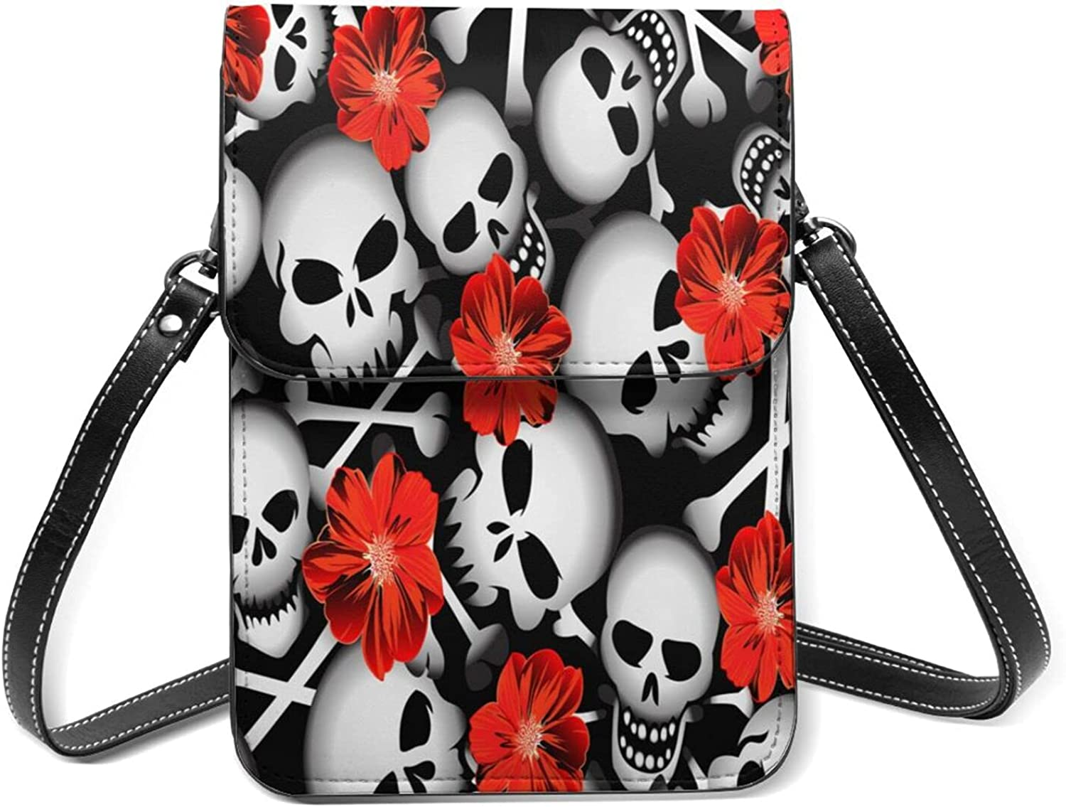 Skulls With Red Flowers Small Charlotte Mall Cell Purse Lightweight Phone Today's only Flip