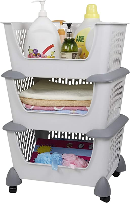 Hommp Gray Plastic Stacking Storage Organizer Basket With Wheels Multi Function Stackable 3 Basket For Home Kitchen Bathroom