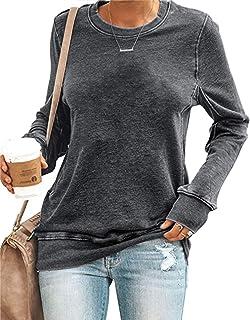 Womens Long Sleeve Crewneck Sweatshirt Oversized Casual Loose Shirt Solid Warm Pullover Tops