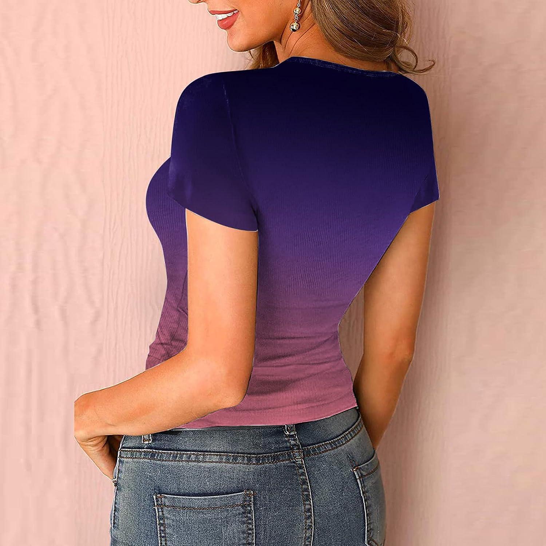 Aukbays Kiolenxah Womens Scoop Neck Henley Tank Tops Low Cut Solid Color Sexy Summer Short Sleeve Button Down Shirts Blouses