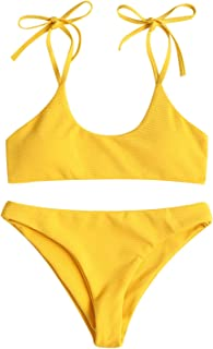 Women's Sexy Tie Shoulders Ribbed Bikini Set Padded Strap Triangle Swimsuit