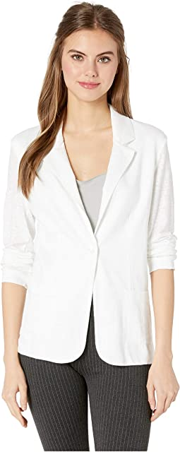 Linen/Elastane Long Sleeve One-Button Blazer