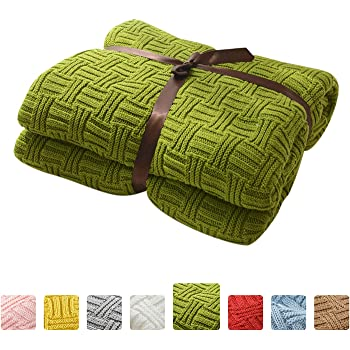 MYLUNE HOME 100% Algodón Tejer Elegante Manta de Punto Cobertura para Ver la televisión en la silleta, sofá y Cama, Las Dos Caras Cubiertas(120X180CM,Green): Amazon.es: Hogar