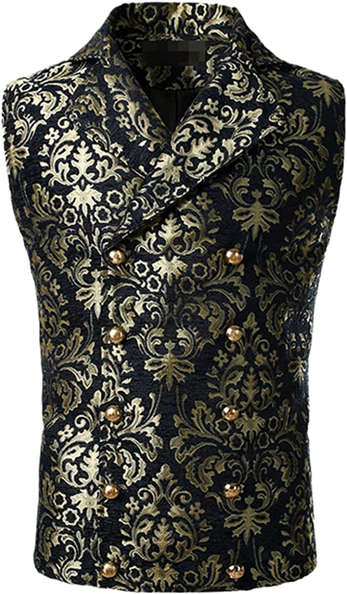 Men's Luxury Brocade Paisley Floral Double Breasted Suit Vest Victorian Gothic Steampunk Vest