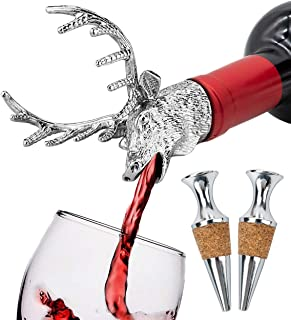 Wine Aerator Pourer Christmas Deer Head Wine Decanter and Wine Bottle Stopper Wine Accessories Gifts (Set A)