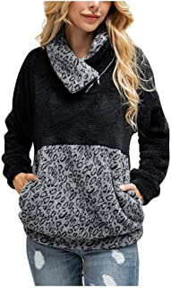 Amlaiworld Sudadera con Estampado de Leopardo para Mujer Abrigo con Cremallera Cuello Alto Patchwork Franela Sudadera de M...