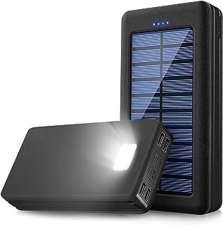 【強化版正規品30000mAh超大容量 】モバイルバッテリー ソーラーチャージャー ソーラー充電器 LEDライト付き Splend 30000mAh 大容量 3USB入力ポート+4USB出力ポート 2.1A QuickCharge 急速充電 太...
