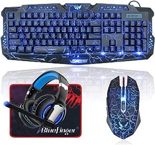 BlueFinger LED Gaming Keyboard Mouse Headset Combo,USB Wired 3 Color Crack Backlit Keyboard,Blue LED Light Gaming Headset,Gaming Keyboard Set for Laptop PC Computer Game Work