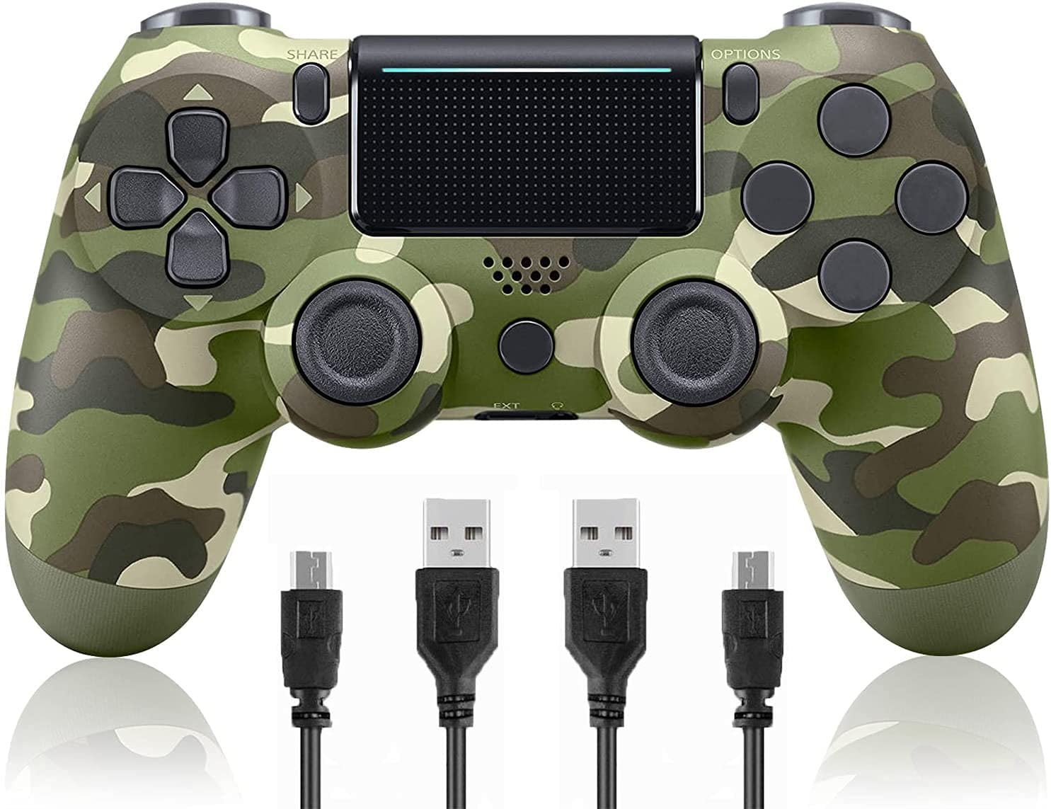 Camo Wireless Controller Compatible with PS4/Slim/Pro Console,Replacement for Official Remote, Gamepad with Gyro/Dual Vibration Motors/Audio Function/Speaker(Green Camouflage)