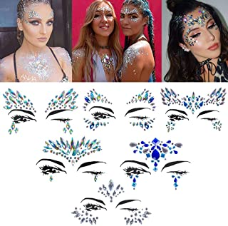 Sponsored Ad - Halloween Face jewels festival Women Mermaid Face Gems Glitter 6 Sets Rhinestone Rave Festival Face Jewels,...