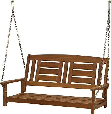 Furinno FG16409SC Tioman Hardwood Patio/Garden/Outdoor Porch Swing, 2-Seater Without Frame, Natural
