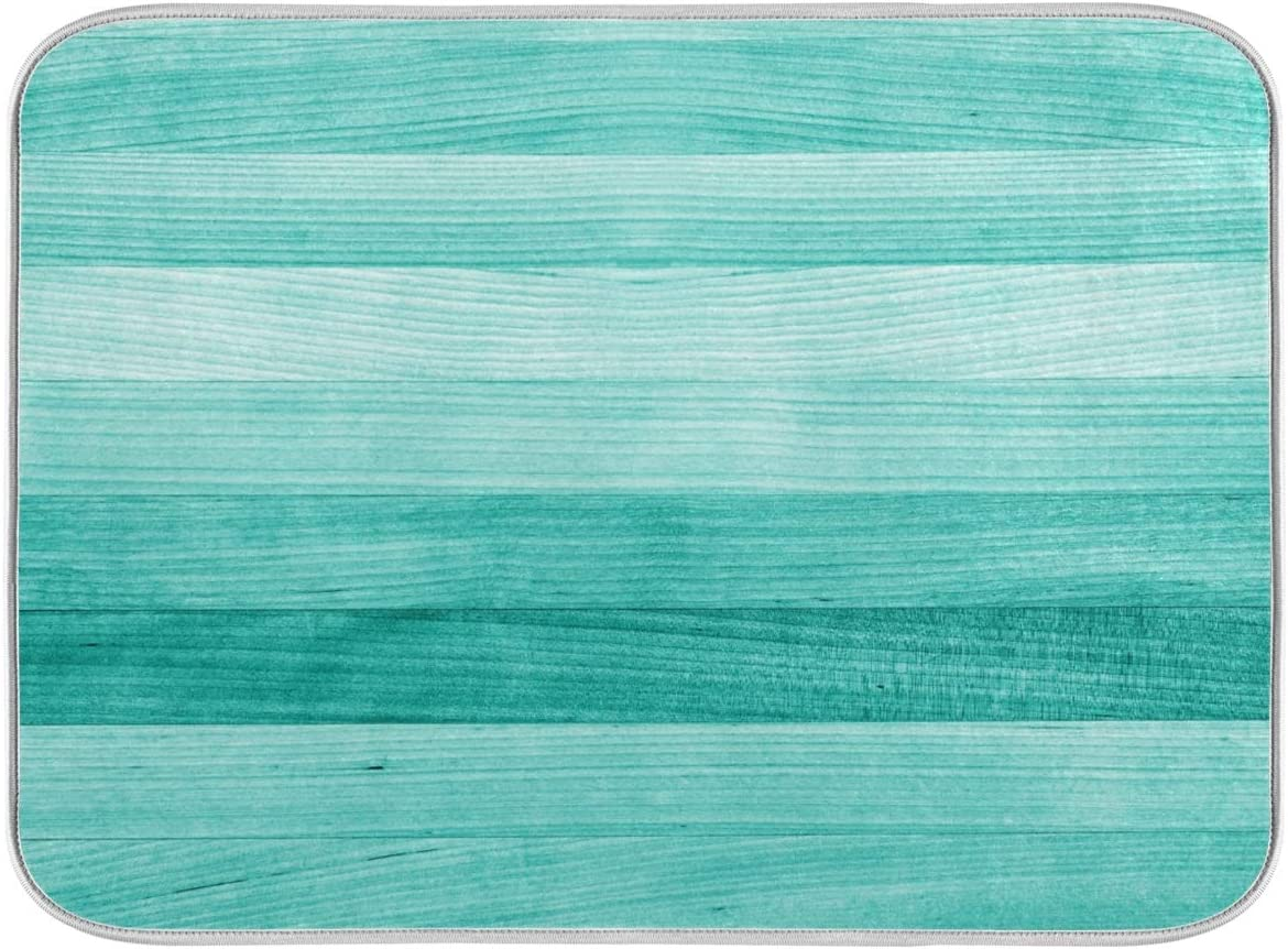 Teal Turquoise Green Manufacturer regenerated product Wood Popular brand Texture Dish Kitc Mat 16x18 for Drying