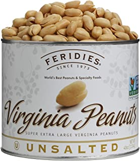 FERIDIES Super Extra Large Unsalted Virginia Peanuts - 40oz Can