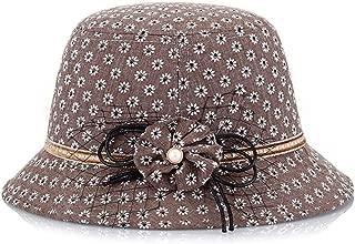 SHENLIJUAN Floral Cloth Sunshade hat (Color : Coffee, Size : M56-58cm)