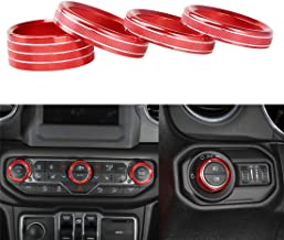 YOCTM for 2018 2019 Jeep Wrangler JL Interior Trim Kit Parts Accessories Headlight Air Conditioning Switch Knob Button Decoration Cover Ring Red (Pack of 4)